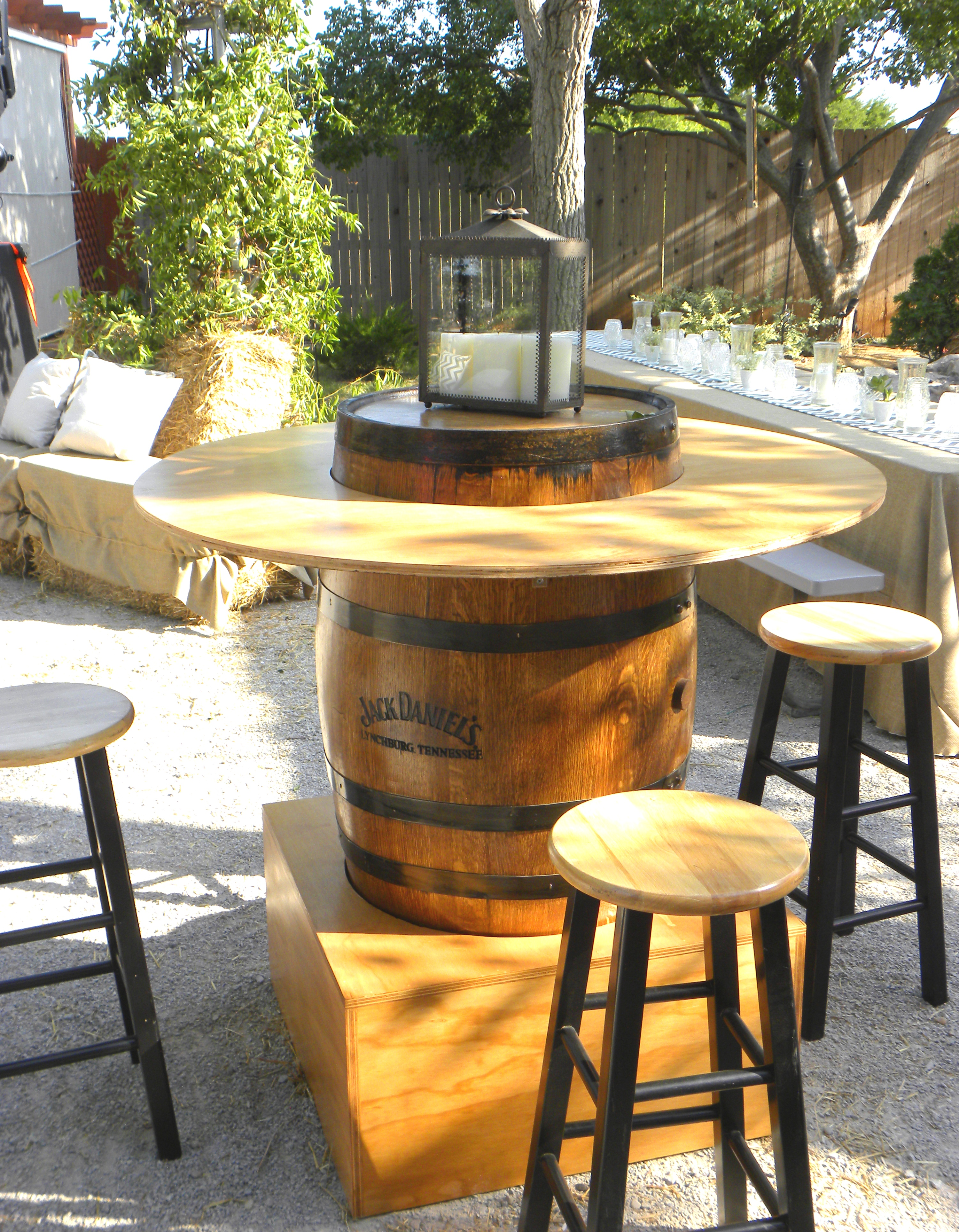 make table summer chevron table barrels a Whiskey perfect cocktail  the party. for rentals runner