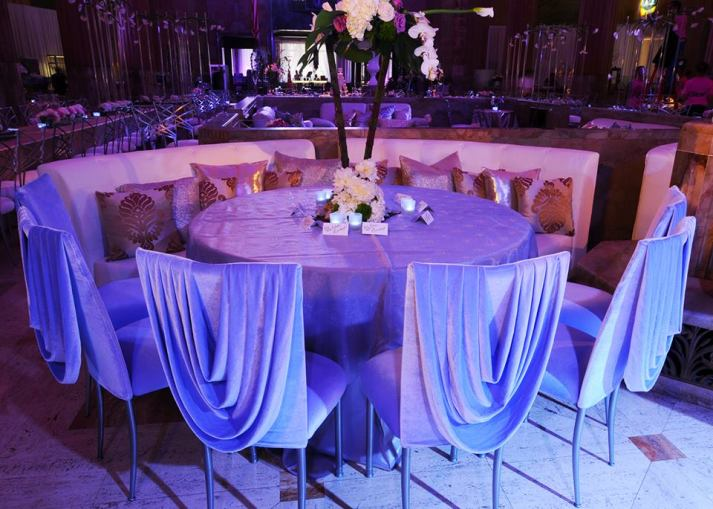 velvet lavender Chameleon Chairs from Eventures Inc