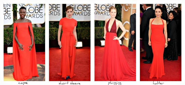 women wearing red at the 2014 Golden Globes